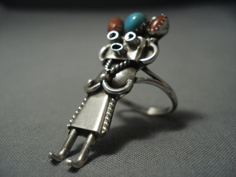 Giant Vintage Zuni Native American Jewelry Silver Sterlign Kachina Turquoise Coral Ring Old Pawn-Nativo Arts