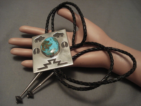 Gigantic Important Vintage Hopi John Coochyumptewa Turquoise Native American Jewelry Silver Bolo Tie-Nativo Arts