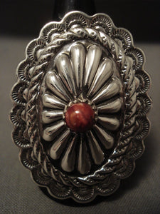 Gigantic Navajo Concho Spiny Oyster Sterling Native American Jewelry Silver Ring-Nativo Arts