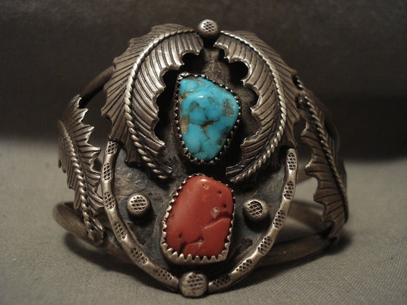 Gigantic Vintage Navajo 'Chunk Coral' #8 Turquoise Native American Jewelry Silver Bracelet-Nativo Arts