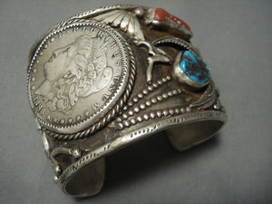 Gigantic Vintage Navajo Coin Native American Jewelry Silver Turquoise Sterling Bracelet-Nativo Arts