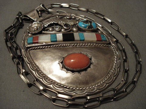 Gigantic Vintage Navajo Coral Persin Turquoise Native American Jewelry Silver Necklace Old-Nativo Arts