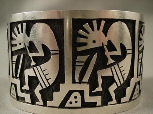 Gigantic Vintage Navajo Dancing Kokopelli Native American Jewelry Silver Huge Bracelet-Nativo Arts