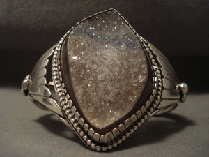Gigantic Vintage Navajo 'Geode Energy' Native American Jewelry Silver Bracelet-Nativo Arts