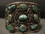 Gigantic Vintage Navajo Green Turquoise Native American Jewelry Silver Bracelet-Nativo Arts