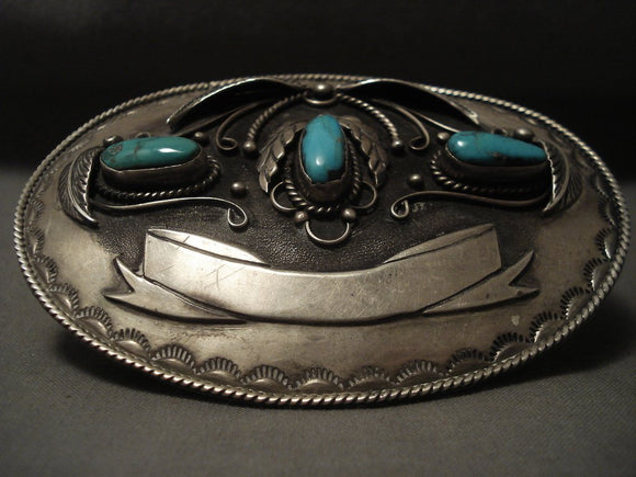 Gigantic Vintage Navajo Hand Tooled Native American Jewelry Silver 'Banner' Turquoise Buckle-Nativo Arts