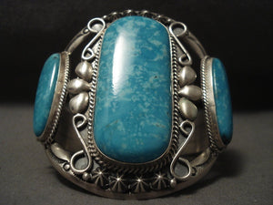 Gigantic Vintage Navajo Huge Easter Blue Turquoise Native American Jewelry Silver Bracelet-Nativo Arts