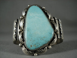 Gigantic Vintage Navajo Natural Turquoise Native American Jewelry Silver Bracelet-Nativo Arts