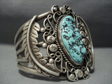 Gigantic Vintage Navajo Turquoise Sterling Native American Jewelry Silver Bracelet Old-Nativo Arts