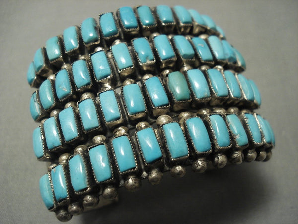 Gigantic Vintage Zuni Natural Squared Turquoise Sterling Native American Jewelry Silver Bracelet Old