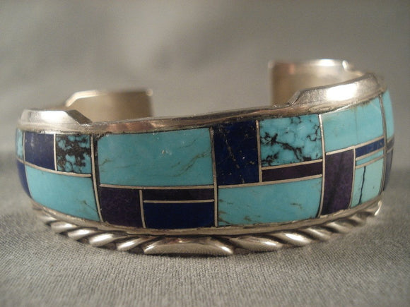 Graduating Mosaic Vintage Navajo Spiderweb Turquoise Native American Jewelry Silver Bracelet-Nativo Arts