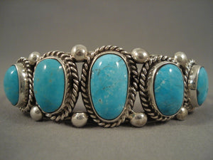 Graduating Vintage Navajo Turquoise Sterling Native American Jewelry Silver Bracelet-Nativo Arts
