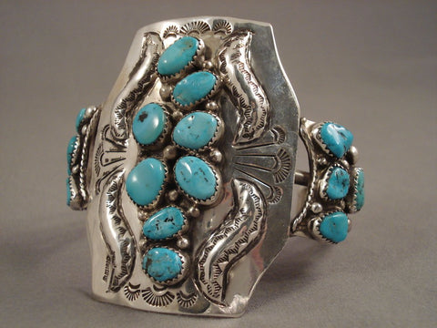 Half Moon Flanks Vintage Navajo Turquoise Sterling Native American Jewelry Silver Bracelet-Nativo Arts