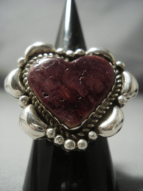 Heart Of Love Navajo Spiny Oyster Sterling Native American Jewelry Silver Ring-Nativo Arts