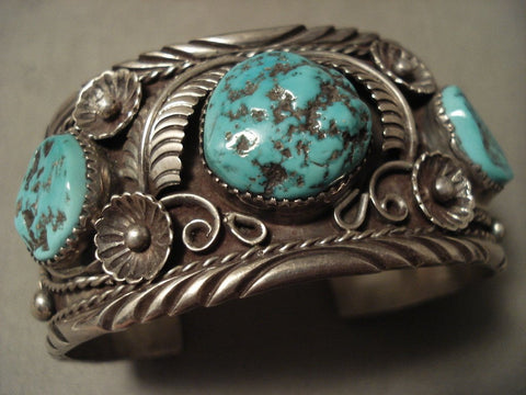Heavily Detailed Vintage Navajo Forest Turquoise Native American Jewelry Silver Bracelet Old-Nativo Arts