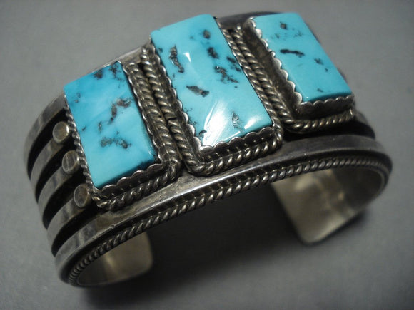 Heavy 120 Grams Channeled Vintage Navajo Turquoise Sterling Native American Jewelry Silver Bracelet Old-Nativo Arts