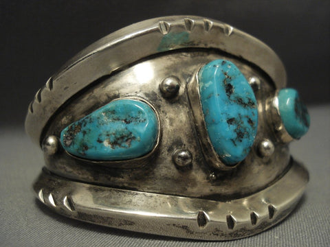 Heavy And Thick! Sterling Native American Jewelry Silver Vintage Navajo Turquoise Bracelet-Nativo Arts