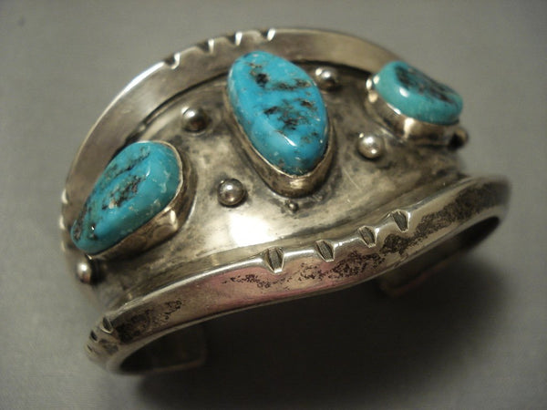 Heavy And Thick! Sterling Native American Jewelry Silver Vintage Navajo Turquoise Bracelet