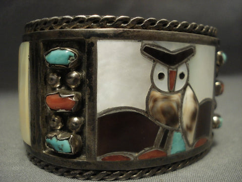 Heavy And Wide Vintage Zuni Owl Turquoise Shell Sterling Native American Jewelry Silver Bracelet- 98 Grm-Nativo Arts