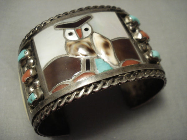 Heavy And Wide Vintage Zuni Owl Turquoise Shell Sterling Native American Jewelry Silver Bracelet- 98 Grm