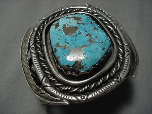 Heavy Heavy!! Vintage Native American Navajo Old Morenci Turquoise Sterling Silver Bracelet Old-Nativo Arts