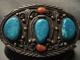 HEAVY HEAVY VINTAGE NAVAJO TURQUOISE SILVER CONCHO BELT OLD-Nativo Arts