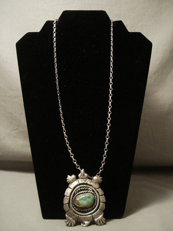 Heavy Heavy Vintage Navajo Turtle Natural Turquoise Native American Jewelry Silver Necklace-Nativo Arts