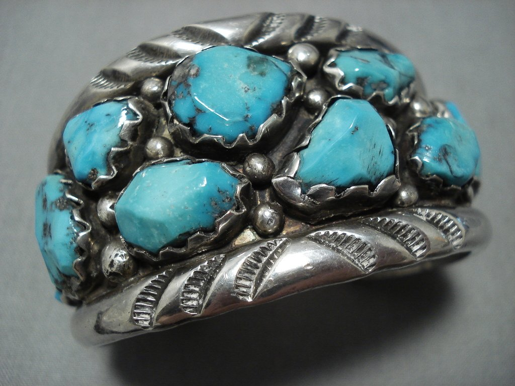 Heavy Important Vintage Native American Jewelry Zuni Turquoise
