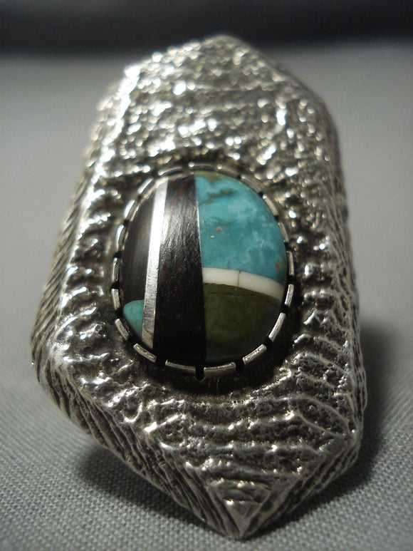 Heavy Navajo Turquoise Sterling Native American Jewelry Silver Ring-Nativo Arts