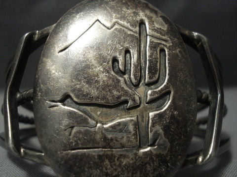 Heavy Patina Thick Vintage Navajo Desert Scene Sterling Native American Jewelry Silver Bracelet Old Pawn-Nativo Arts