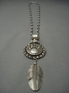 Heavy Thick Sterling Native American Jewelry Silver! Vintage Navajo Ben Begaye Feather Necklace Old-Nativo Arts