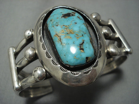 Heavy Thick Vintage Navajo Blue Royston Turquoise Sterling Native American Jewelry Silver Bracelet Old-Nativo Arts