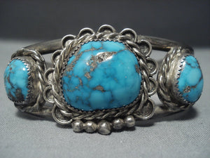 High Grade Morenci Turquoise!! Vintage Navajo Sterling Native American Jewelry Silver Bracelet-Nativo Arts