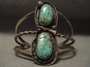 High Grade Old Deposit Royston Turquoise Vintage Navajo Native American Jewelry Silver Bracelet-Nativo Arts
