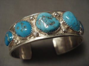 High Grade Old Easter Blue Turquoise Native American Jewelry Silver Navajo Bracelet-Nativo Arts