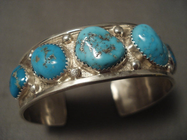 High Grade Old Easter Blue Turquoise Native American Jewelry Silver Navajo Bracelet