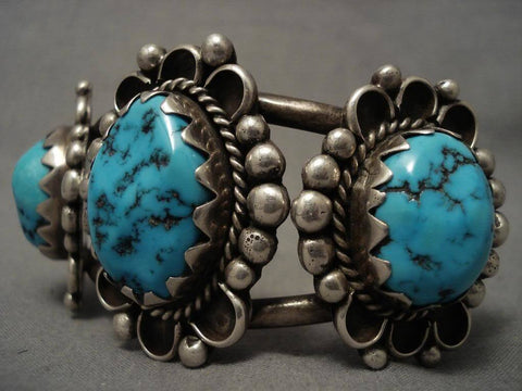 High Grade Older Vintage Navajo Domed Morenci Turquoise Native American Jewelry Silver Bracelet-Nativo Arts