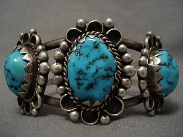 High Grade Older Vintage Navajo Domed Morenci Turquoise Native American Jewelry Silver Bracelet