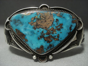 High Grade Pilot Mountain Turquoise Vintage Navajo Sterling Native American Jewelry Silver Bracelet Old-Nativo Arts