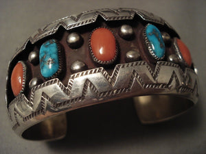 High Grade Turquoise And Coral Vintage Navajo Native American Jewelry Silver Bracelet Old-Nativo Arts