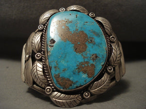 Highest Grade Most Collectible Old Kingman Turquoise Vintage Navajo Native American Jewelry jewelry Bracelet-Nativo Arts