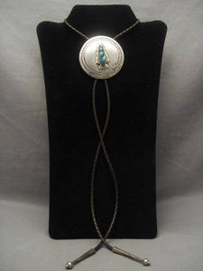 Historical Vintage Navajo Community College Turquoise Native American Jewelry Silver Bolo Tie-Nativo Arts