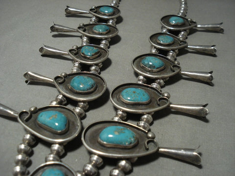 Huge 278 Gram Vintage Navajo Mountain Turquoise Native American Jewelry Silver Squash Blossom Necklace-Nativo Arts