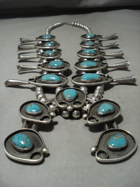 Huge 278 Gram Vintage Navajo Mountain Turquoise Native American Jewelry Silver Squash Blossom Necklace