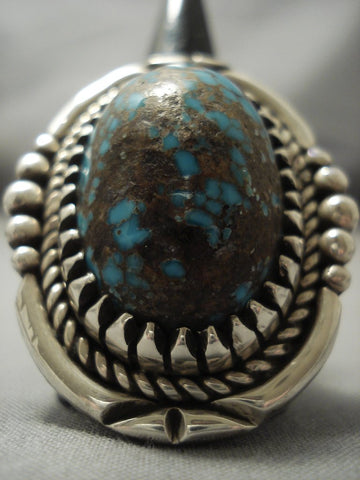 Huge 30 Gram Vintage Navajo Spiderweb Bob Robbins Turquoise Sterling Native American Jewelry Silver Ring-Nativo Arts