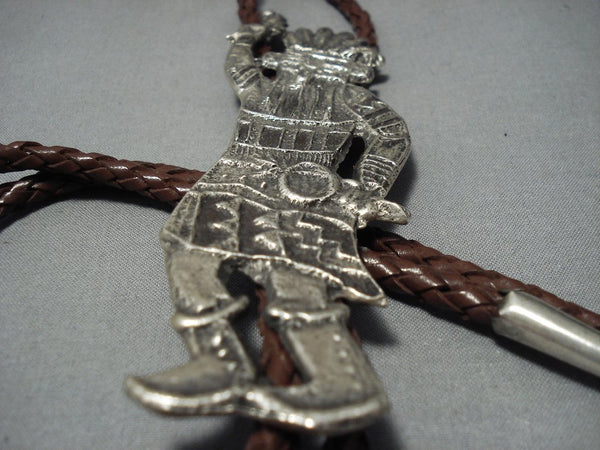 Huge 5 Inch Native American Jewelry Navajo Sterling Silver Kachina Dancer Native American Jewelry Navajo Bolo Tie-Nativo Arts