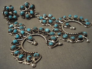 Huge And Fabulous Navajo Turquoise Native American Jewelry Silver Earrings-Nativo Arts