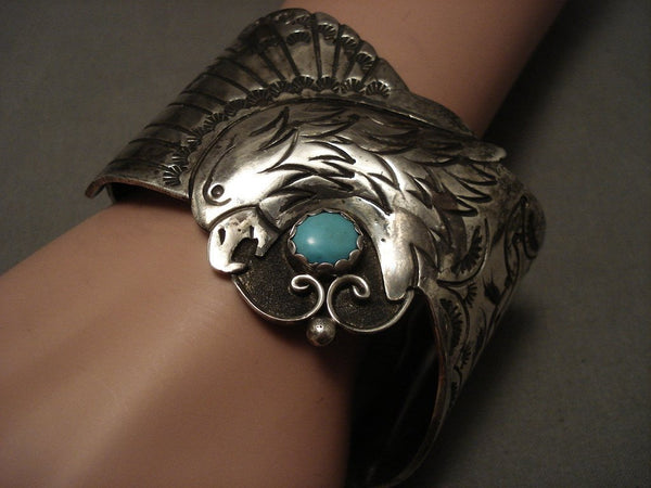 Huge And Heavy Old Navajo Eagle Turquoise Native American Jewelry Silver Bracelet