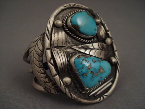 Huge And Heavy Old Navajo Natural Turquoise Native American Jewelry Silver Bracelet Vintage Vtg-Nativo Arts