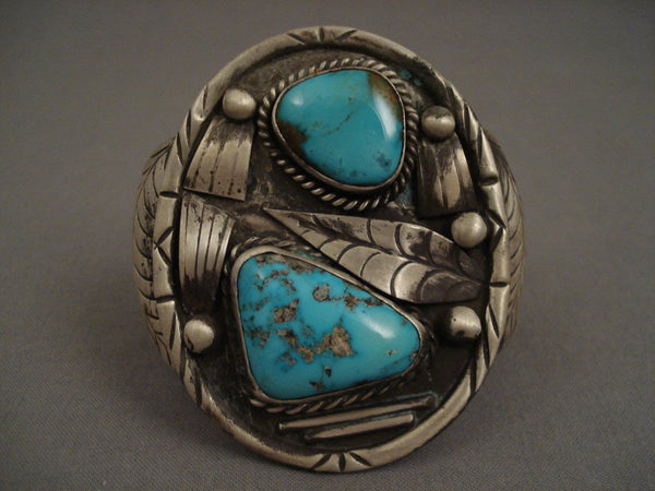 Huge And Heavy Old Navajo Natural Turquoise Native American Jewelry Silver Bracelet Vintage Vtg